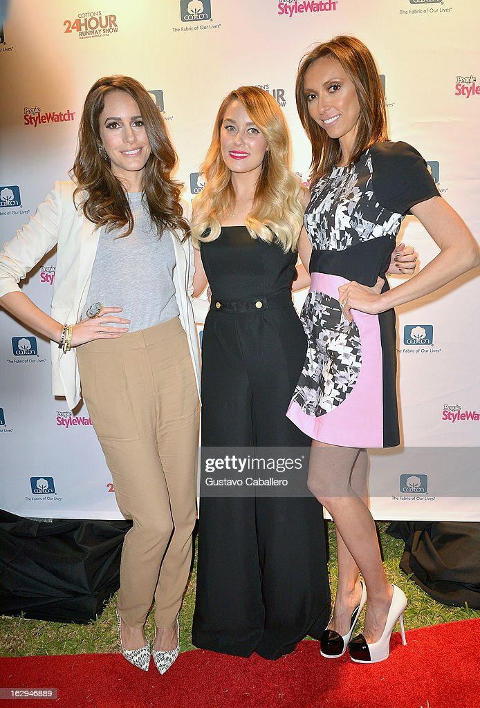 Louise Roe,Lauren Conrad and Giuliana Rancic attends Cotton's 24 Hour Runway Show on South Beach on March 1, 2013 in Miami Beach, Florida.