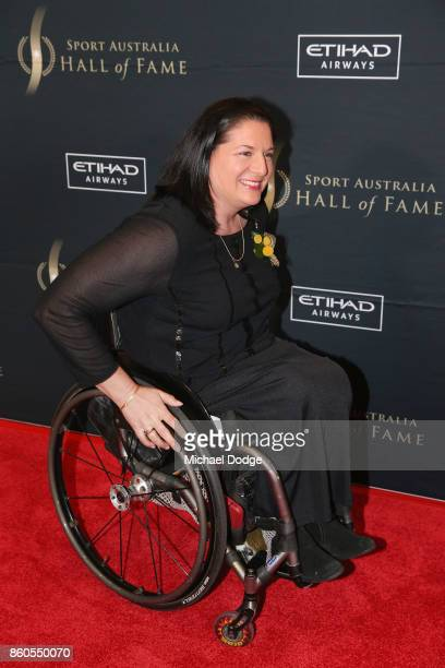Louise Sauvage arrives at the Sport Australia Hall of Fame Annual Induction and Awards Gala Dinner at Crown Palladium on October 12 2017 in Melbourne...
