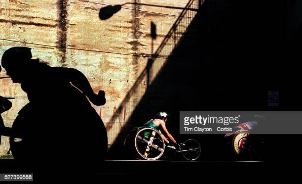 Louise Sauvage in action as Wheelchair athletes compete in a 10kilometre road race on Australia Day around the rocks area of Sydney Australia Photo...