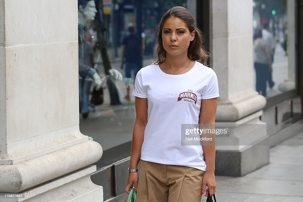 Louise Thompson is pictured shopping on Oxford St on August 5, 2013 in London, United Kingdom.