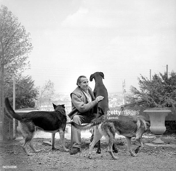 LouisFerdinand Celine French writer with his dogs Meudon about 1955