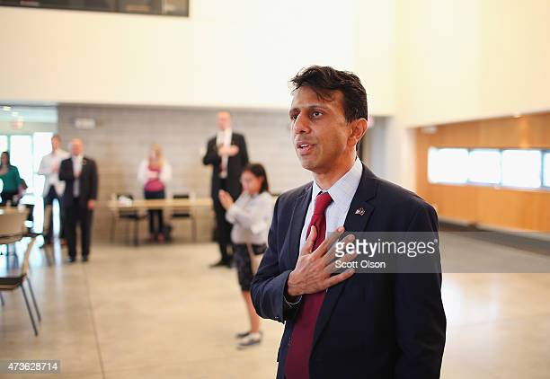 Louisiana Gov Bobby Jindal recites the Pledge of Allegiance at the Story County GOP breakfast at Oakwood Church May 16 2015 in Ames Iowa Jindal and...