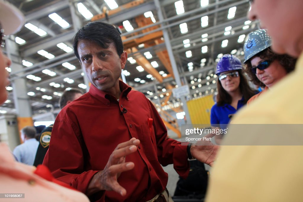Louisiana Governor <a gi-track='captionPersonalityLinkClicked' href=/galleries/search?phrase=Bobby+Jindal&family=editorial&specificpeople=2249969 ng-click='$event.stopPropagation()'>Bobby Jindal</a> speaks with employees in the oil and gas industry about U.S. President Obama`s moratorium on Deep Water Drilling June 10, 2010 at a port slip used for ships involved in the oil drilling business in Port Fourchon, Louisiana. The oil spill has been called the largest environmental disaster in American history.