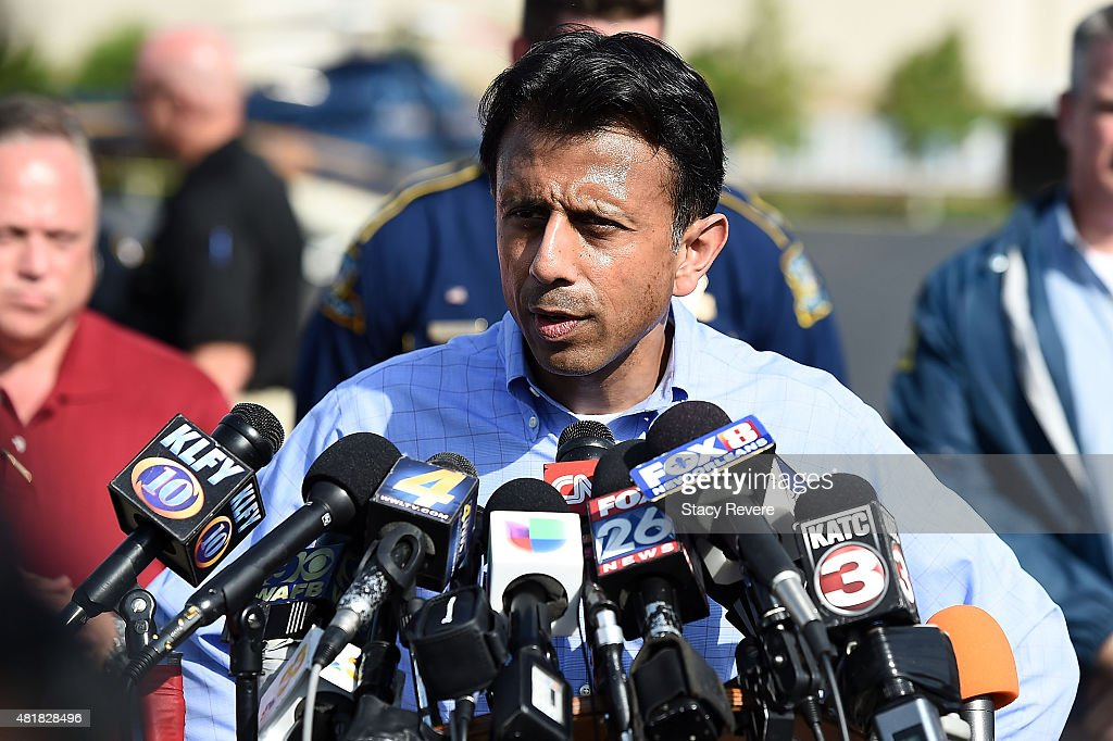 Louisiana Governor <a gi-track='captionPersonalityLinkClicked' href=/galleries/search?phrase=Bobby+Jindal&family=editorial&specificpeople=2249969 ng-click='$event.stopPropagation()'>Bobby Jindal</a> speaks with the media in front of the Grand Theatre on July 24, 2015 in Lafayette, Louisiana. Two people were killed and nine others wounded when a shooter identified as John Russell Houser, 59, opened fire in a movie theatre, killing himself after police arrived.