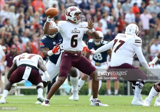 Louisiana Monroe Warhawks quarterback Caleb Evans drops back to pass during a football game between the Auburn Tigers and the LouisianaMonroe...