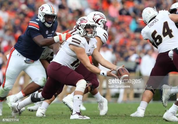 Louisiana Monroe Warhawks quarterback Garrett Smith pitches the ball during a football game between the Auburn Tigers and the LouisianaMonroe...