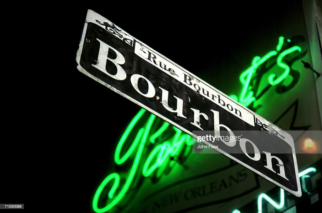 USA, Louisiana, New Orleans, Bourbon Street sign, low angle view