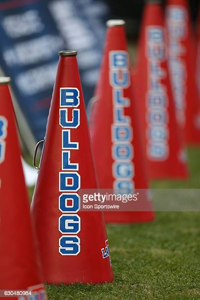 Louisiana Tech cheer megaohones on the sidelines during the Lockheed Martin Armed Forces Bowl between Louisiana Tech and Navy on December 23 at Amon...