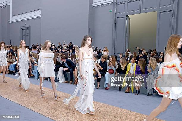 LouisMarie de Castelbajac Selah Sue Flo Morissey Dylan Frances Penn Jada Pinkett Smith Guest and Angela Lindvall attend the Chloe show as part of the...