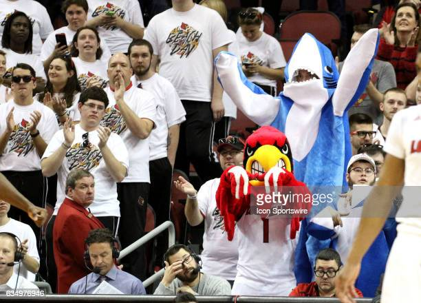 Louisville Cardinals fans dress as sharks on February 11 2017 at the KFC Yum Center in Louisville KY Louisville defeated Miami 7166