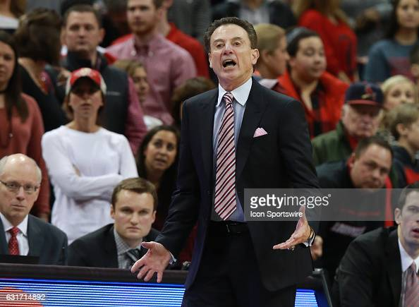 Louisville Cardinals head coach Rick Pitino during the game against the Duke Blue Devils and the Louisville Cardinals at the KFC YUM Center in...