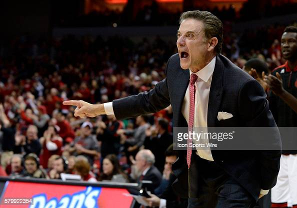 Louisville Cardinals head coach Rick Pitino yells instructions to his team during the college basketball game between the Notre Dame Fighting Irish...
