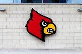 Louisville Cardinals logo at the KFC YUM Center home of the Louisville Cardinals basketball team on July 16 2015 in Louisville Kentucky