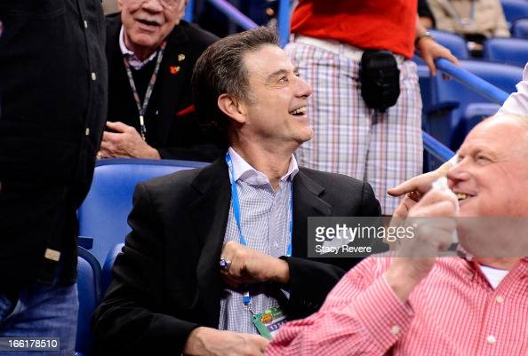 Louisville Cardinals men's head coach Rich Pitino looks on from the stands prior to the 2013 NCAA Women's Final Four Championship between the...