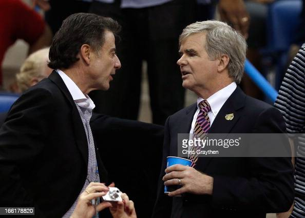 Louisville Cardinals men's head coach Rich Pitino shakes speaks with NCAA President Mark Emmert prior to the 2013 NCAA Women's Final Four...
