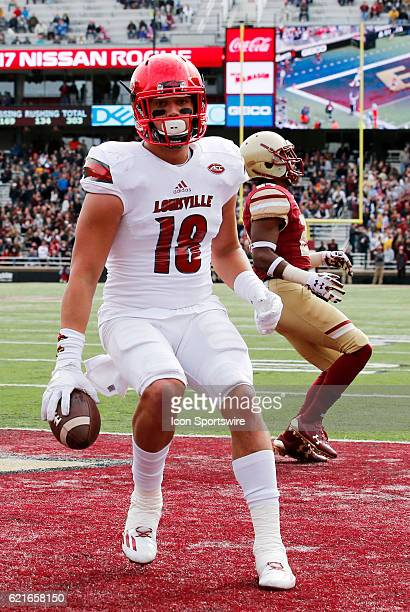 Louisville Cardinals tight end Cole Hikutini scores six points during an ACC Division 1 NCAA football game between the Louisville Cardinals and the...