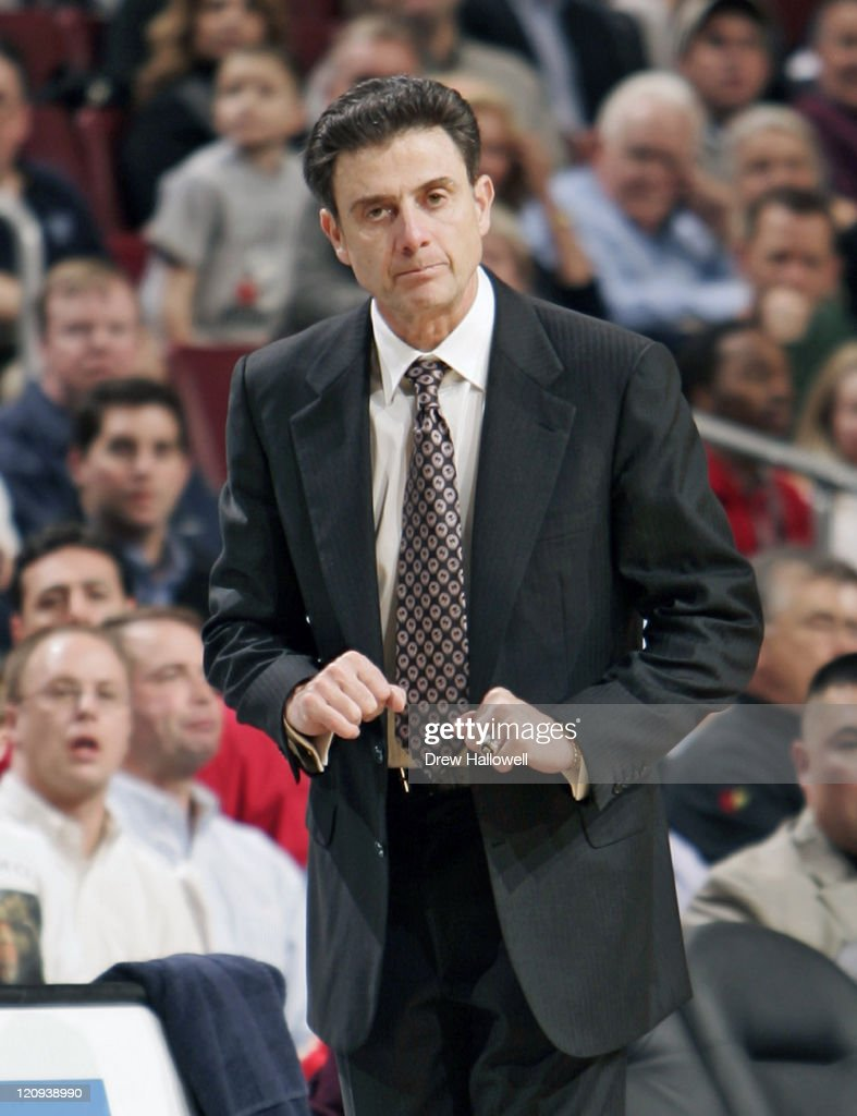 Louisville head coach <a gi-track='captionPersonalityLinkClicked' href=/galleries/search?phrase=Rick+Pitino&family=editorial&specificpeople=210871 ng-click='$event.stopPropagation()'>Rick Pitino</a> Monday, January 30, 2006 at the Wachovia Center in Philadelphia, PA. Villanova University defeated the University of Louisville 79-73.