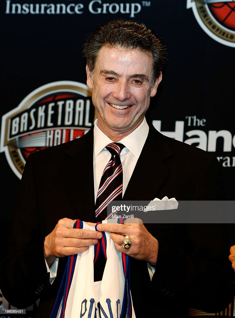 Louisville head coach <a gi-track='captionPersonalityLinkClicked' href=/galleries/search?phrase=Rick+Pitino&family=editorial&specificpeople=210871 ng-click='$event.stopPropagation()'>Rick Pitino</a> stands on stage during the 2013 Naismith Memorial Basketball Hall of Fame Annoucement Ceremony at Marriott Marquis on April 8, 2013 in Atlanta, Georgia.