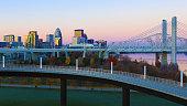 The Louisville, Kentucky skyline at sunrise