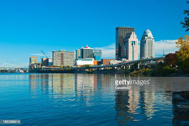Louisville skyline and river reflection