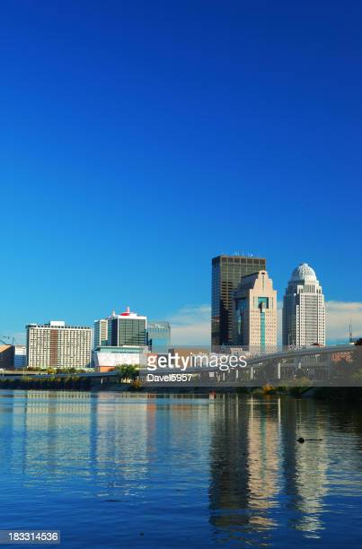 Louisville skyline and river reflections