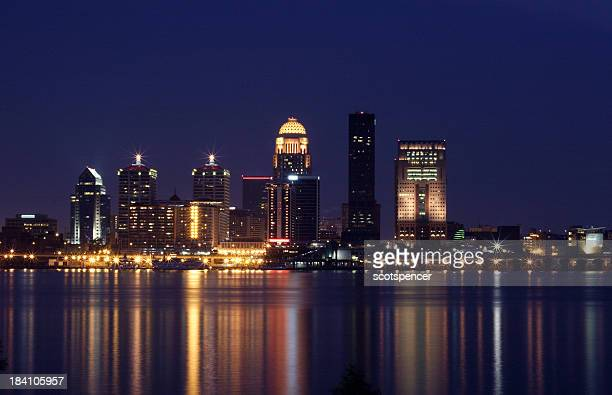 Louisville skyline as seen by the water at night
