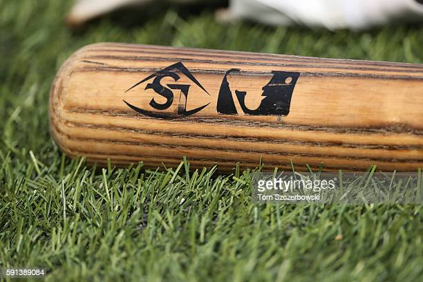 Louisville Slugger bat with the MLB logo on the barrel during batting practice before the start of the Toronto Blue Jays MLB game against the Tampa...