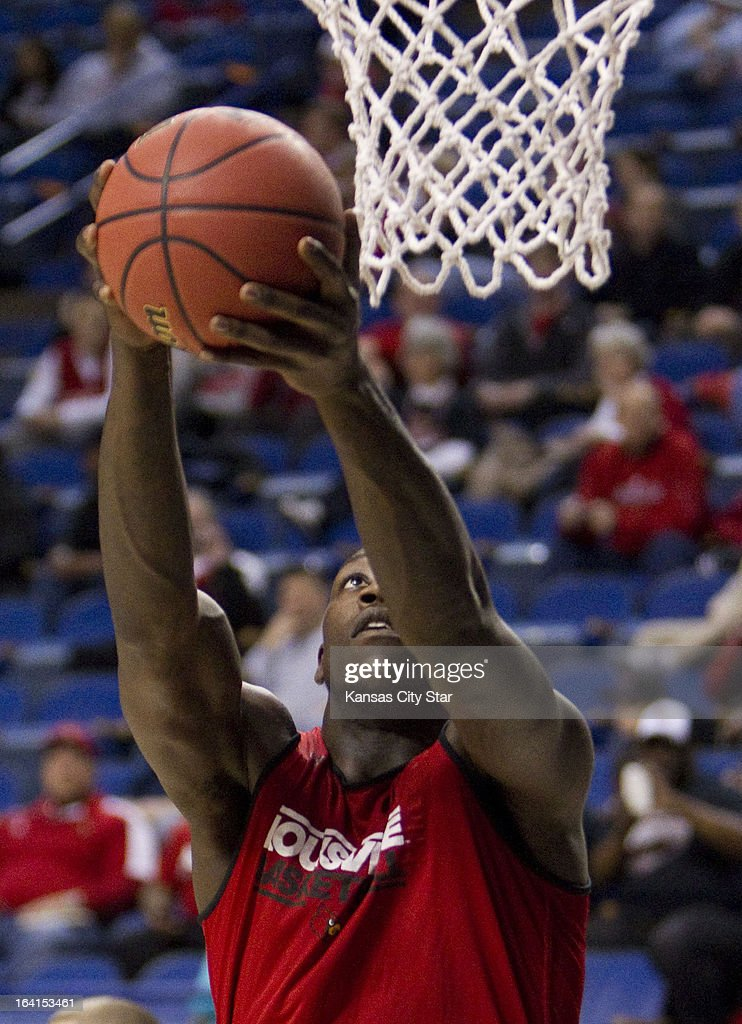 Louisville's Montrezl Harrell eyes the hoop for a dunk during a shoot-around as the team prepared for the second round of the NCAA Tournament in Rupp Arena in Lexington, Kentucky, on Wednesday, March 20, 2013. Louisville meets North Carolina A&T on Thursday.