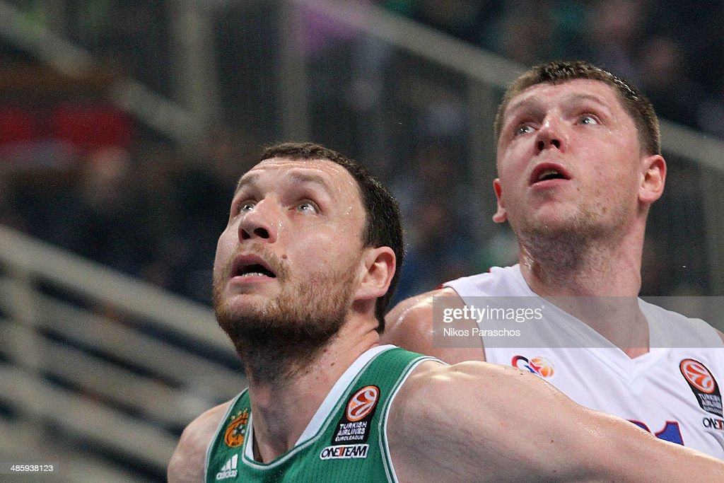 Loukas Mavrokefalides, #12 of Panathinaikos Athens competes with Victor Khryapa, #31 of CSKA Moscow during the Turkish Airlines Euroleague Basketball Play Off Game 3 between Panathinaikos Athens v CSKA Moscow at Olimpic Sports Center Athens on April 21, 2014 in Athens, Greece.