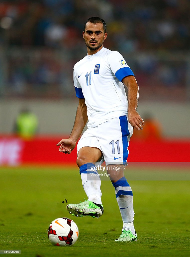 Loukas Vyntra of Greece is pictured during the group G FIFA 2014 World Cup Qualifier match between Greece and Liechtenstein at Karaiskakis Stadium on October 15, 2013 in Athens, Greece.