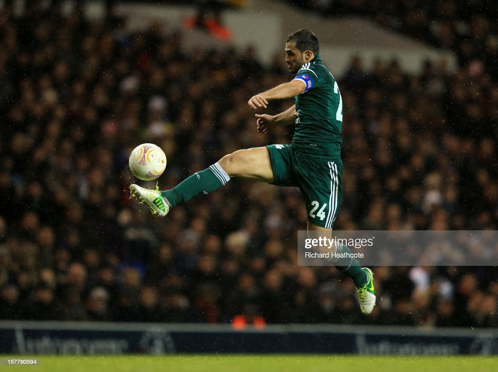Loukas Vyntra of Panathinaikos controls the ball during the UEFA Europa League Group J match between Tottenham Hotspur and Panathinaikos at White Hart Lane on December 6, 2012 in London, England.
