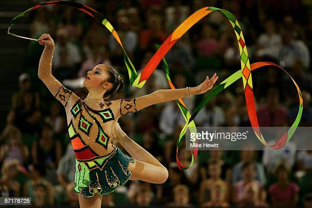 Loukia Trikomiti of Cyprus performs during the Rhythmic Gymnastics Indinvidual AllRound final at the Rod Laver Arena during day ten of the Melbourne...