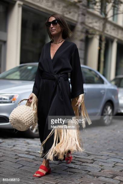 Loulou De Saison is seen attending Mansur Gavriel during New York Fashion Week wearing The Row Ellery Jennifer Fisher jewelry Rouje on September 10...