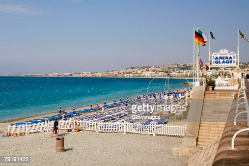 Lounge chairs on the beach, Nice, France : Foto de stock
