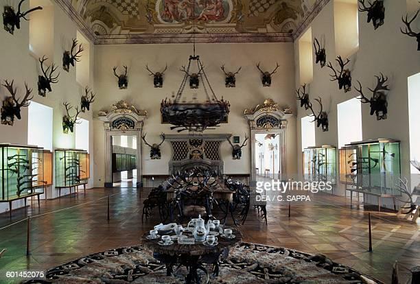 Lounge with hunting trophies Ohrada chateau 17081713 near Hluboka nad Vltavou Czech Republic 18th century