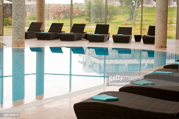 Lounging chairs by the side of swimming pool, North Cyprus