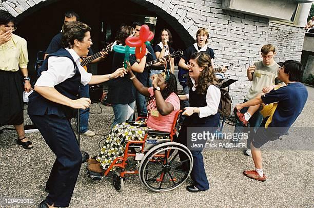Lourdes France Spanish pilgrims from Barcelona having fun
