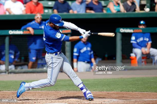 Lourdes Gurriel of the Toronto Blue Jays hits a threerun home run in the seventh inning against the Baltimore Orioles in a spring training game on...