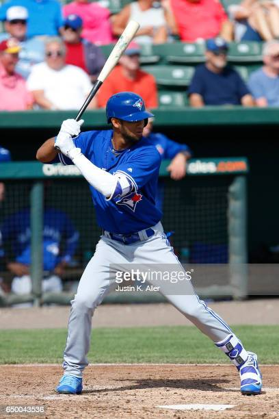 Lourdes Gurriel of the Toronto Blue Jays in action against the Baltimore Orioles on March 8 2017 at Ed Smith Stadium in Sarasota Florida
