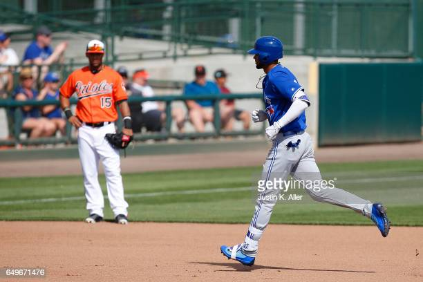 Lourdes Gurriel of the Toronto Blue Jays rounds second base after hitting a threerun home run in the seventh inning against the Baltimore Orioles in...