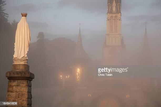 Lourdes in the fog