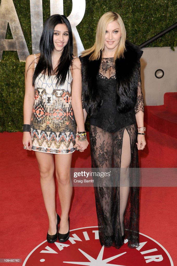 Lourdes Leon (L) and <a gi-track='captionPersonalityLinkClicked' href=/galleries/search?phrase=Madonna+-+Singer&family=editorial&specificpeople=156408 ng-click='$event.stopPropagation()'>Madonna</a> arrive at the Vanity Fair Oscar party hosted by Graydon Carter held at Sunset Tower on February 27, 2011 in West Hollywood, California.