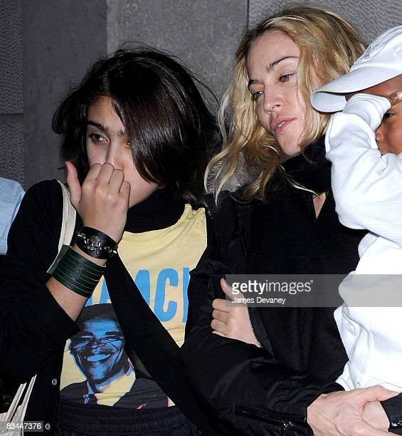 Lourdes Leon Madonna and David Banda leave the Kabbalah Center wearing a Barack Obama tshirt in Manhattan on October 24 2008 in New York City