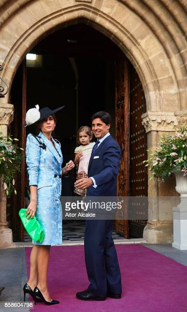Lourdes Montes and Francisco Rivera looks on during her wedding with Alvaro Sanchis at Parroquia Santa Ana on October 7 2017 in Seville Spain