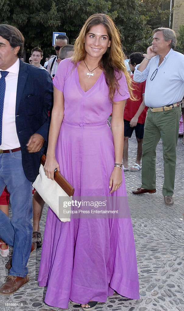 Lourdes Montes attends the 'Goyesca' Bullfights on September 8, 2012 in Ronda, Spain. The bullfight events, linked to The Feria Goyesca (Feria de Pedro Romero), stem from the inter-relationship of three main personae which spanned over three centuries, all of whom have strong connections to Ronda. These are the famous 18th century bullfighter, Pedro Romero; the 18th century Spanish painter, Francisco de la Goya; and also the 20th century bullfighter, Antonio Ordonez, to whom the vision of the Ronda's modern Feria Goyesca can be attributed.