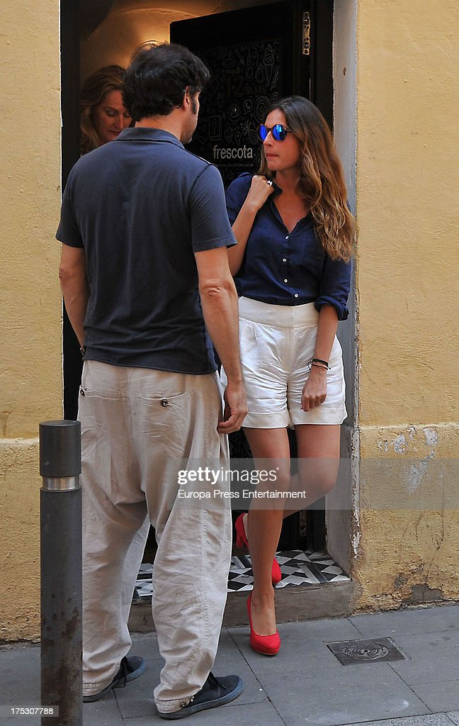 Lourdes Montes (R) is sighted leaving the wedding dress firm 'Pronovias' on July 19, 2013 in Barcelona, Spain.