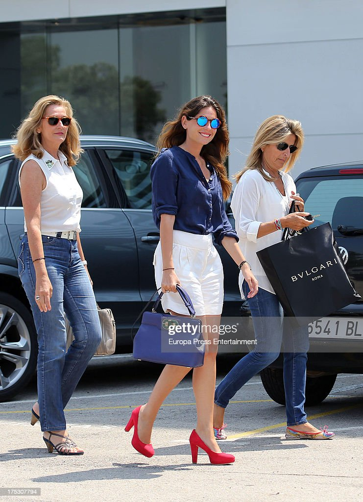 Lourdes Montes is sighted leaving the wedding dress firm 'Pronovias' on July 19, 2013 in Barcelona, Spain.