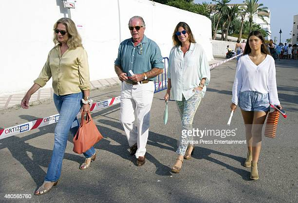 Lourdes Parejo guest Lourdes Montes and Cayetana Rivera attend bullfighting on July 12 2015 in Estepona Spain