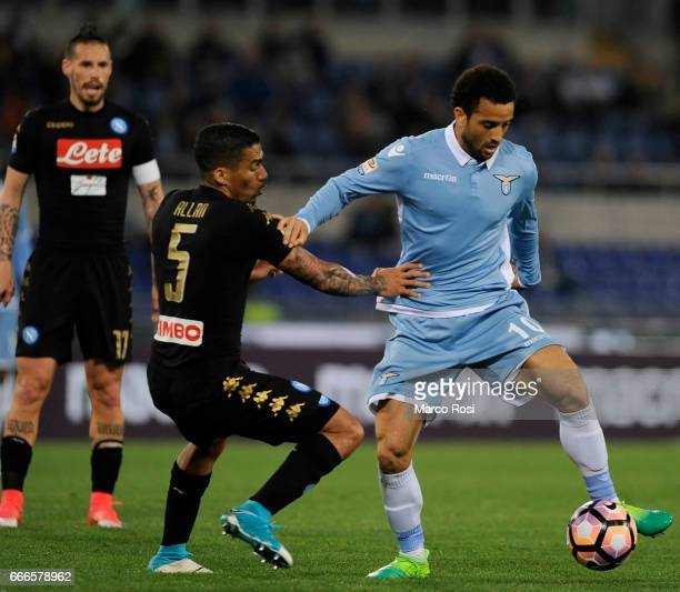 Loureiro Allan of SSC Napoli battles with Felipe Anderson of SS Lazio during the Serie A match between SS Lazio and SSC Napoli at Stadio Olimpico on...