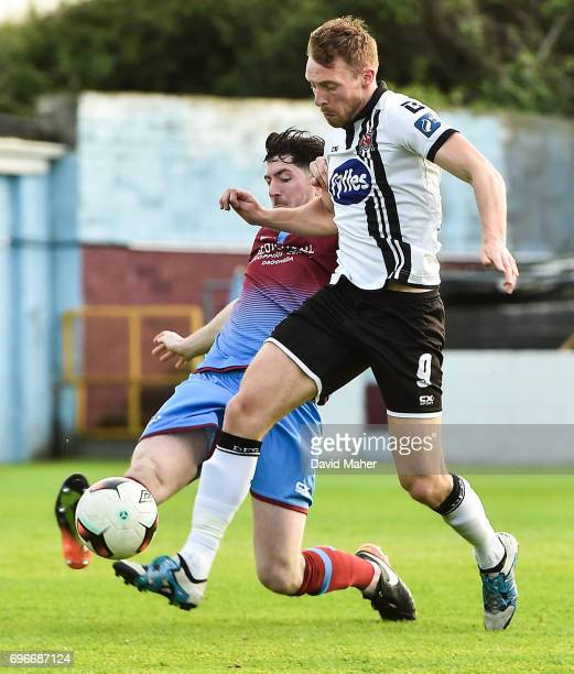 Louth Ireland 16 June 2017 David McMillan of Dundalk in action against Ciaran McGuigan of Drogheda United during the SSE Airtricity League Premier...